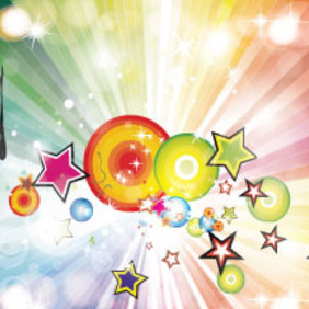 Colored Rainbow With Retro Stars Free Graphic - Free vector #215247