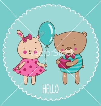 Free bear and bunny vector - vector gratuit #215387