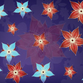 Red & Blue Flower In Purple Background Vector Graphic - Free vector #215477