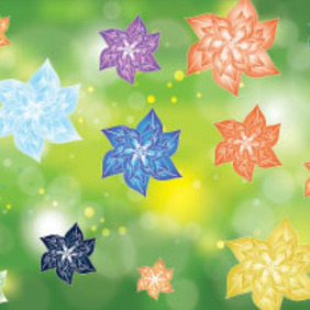 Colored Flowers In Green Nature Design - Free vector #215617