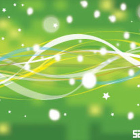Abstract Green Nature Line With Stars Vector Background - Free vector #215747
