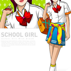 25 Ai Vectors School Girls - vector gratuit #215857