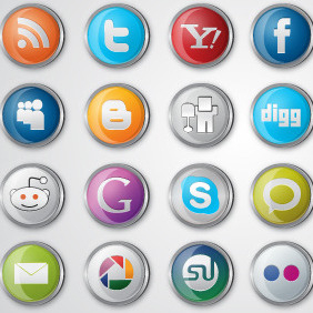 Social Media Icon Pack - vector gratuit #216267