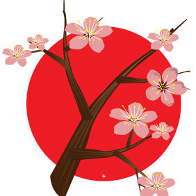 Cherry Blossom Tree For Japan - vector gratuit #216327