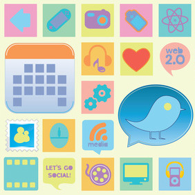 Retro Web Icons - vector gratuit #216417