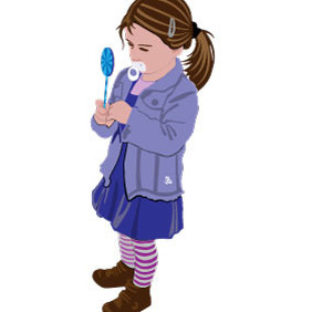 Little Girl Vector - vector #216427 gratis