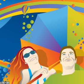 Colors Under The Sun Umbrella - vector gratuit #216837