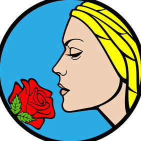 Girl With Rose Vector - Free vector #216907