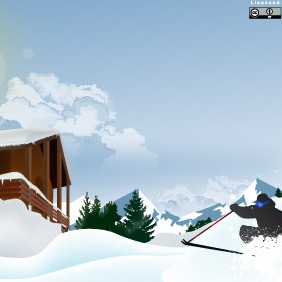 Ski In The Snowy Mountain - vector gratuit #216997