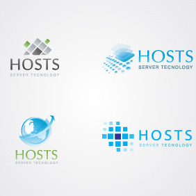 Server & Hosting Logo Templates - vector gratuit #217177
