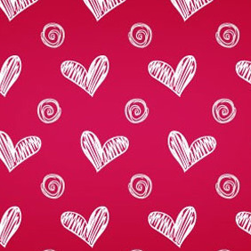 Hand Sketched Heart Photoshop And Illustrator Pattern - Free vector #217257