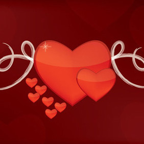Valentine Hearts Card - vector #217417 gratis