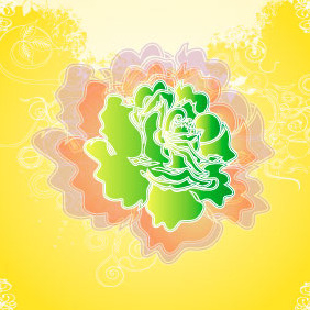 Shadow Green Flower Vector Background - Free vector #217807
