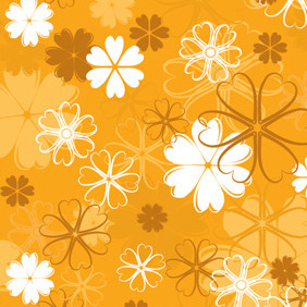 Orange Floral Pattern - Free vector #217917