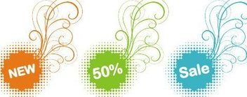 Colorful Sale Stickers - Kostenloses vector #217997