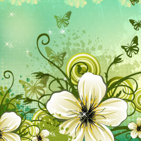 Flowers Background By VectoropenStock - бесплатный vector #218197