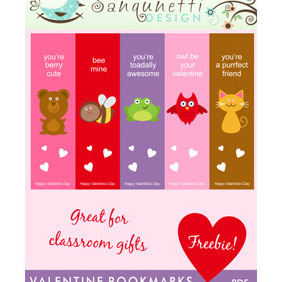 Valentine Bookmarks - vector gratuit #218247