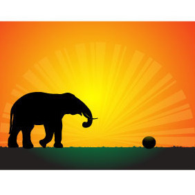 Elephant In The Sunset - Free vector #218257