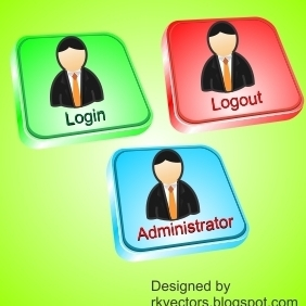 Vector Login, Logout, Administrator Button - vector gratuit #218407