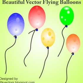 Beautiful Vactor Flying Balloons - бесплатный vector #218717