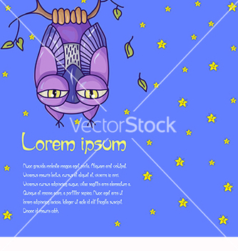 Free card for text with an owl in the night sky vector - Free vector #218897