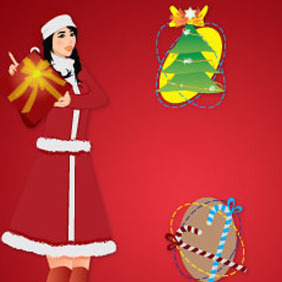 Christmas Girl Vector Illustration - бесплатный vector #218947
