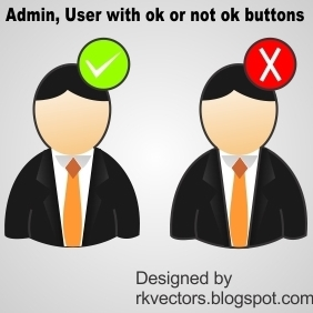 Admin, User With Ok Or Not Ok Buttons - Free vector #219017