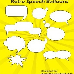 Vector Retro Speech Balloons - vector gratuit #219237
