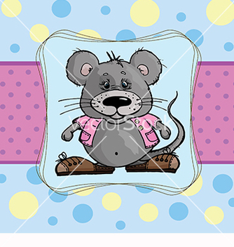 Free baby card with a mouse on a blue background vector - Free vector #219697