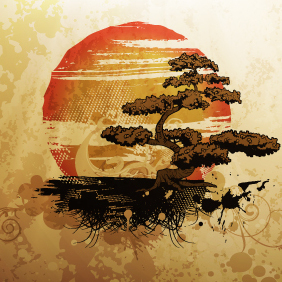 Free Vector Illustration With Bonsai - Free vector #220217