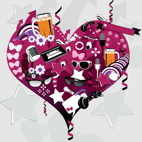 Vector Heart Collage Graphics - Free vector #220937
