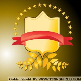Golden Shield Vector - vector #220957 gratis