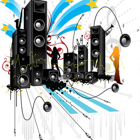 Free Pop Art Style Music Vector - Kostenloses vector #220977
