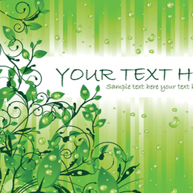 Green Leaves With Rain Drops - Free vector #221287