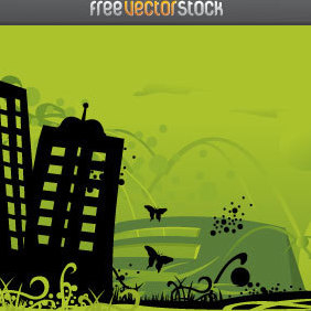Green City - vector gratuit #221517