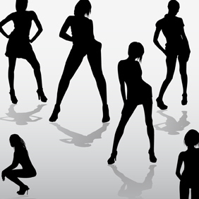 Girls Silhouettes - Free vector #222207
