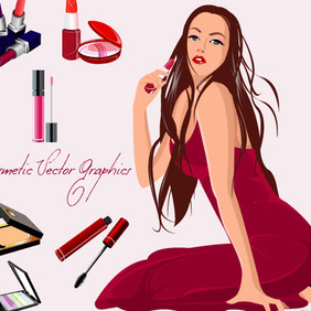 Cosmetics (Red) - Free vector #223017