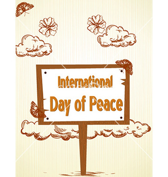 Free international day of peace with wood sign vector - vector gratuit #226117