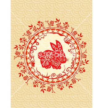 Free abstract bunny with floral vector - Free vector #231227