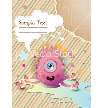 Free cute monster with chat bubble vector - Kostenloses vector #231317