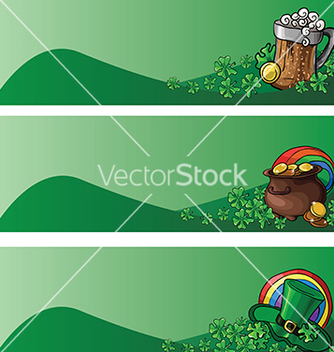 Free st patricks day banners with leprechaun hat pot vector - бесплатный vector #232987