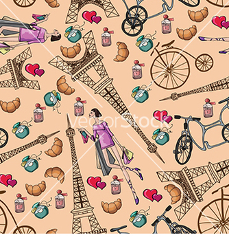 Free pattern with the eiffel tower and perfume vector - vector gratuit #232997