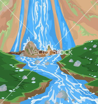 Free waterfall scene vector - бесплатный vector #233227