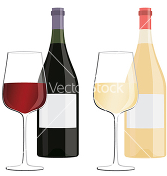 Free glasses of white wine and red wine with bottles vector - бесплатный vector #233637