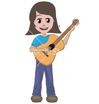 Free girl playing guitar vector - Kostenloses vector #233897