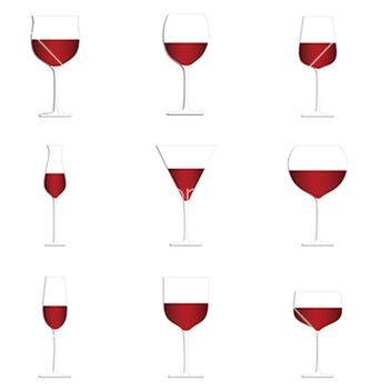 Free different glasses of red wine set isolated in vector - vector gratuit #233907