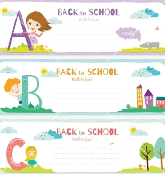 Free back to school notes with smiling happy kids vector - vector gratuit #234307