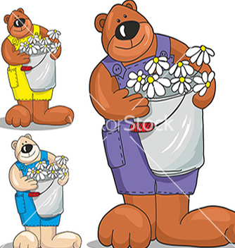Free bear with flowers vector - vector gratuit #234687