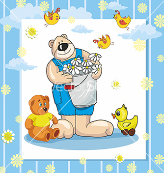 Free baby card with teddy bear and duck vector - Free vector #234697