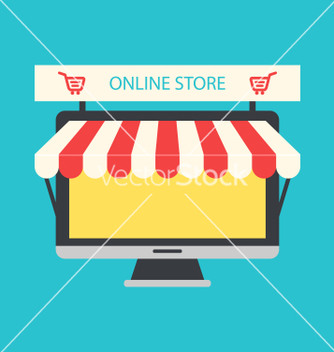 Free flat icon of computer pc as showcase of shop vector - Kostenloses vector #234807